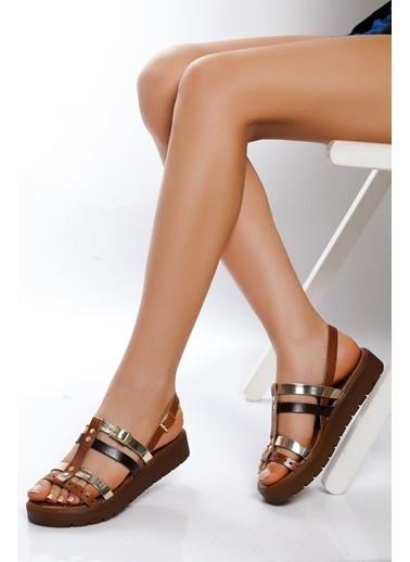 Derithy Derithy-Hakiki Deri Sandalet-Taba Renkli